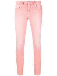Closed Cropped Skinny Jeans Pink And Purple