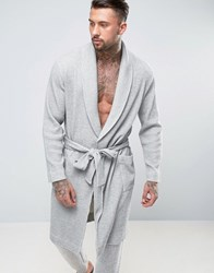 Asos Shawl Neck Dressing Gown In Waffle Grey