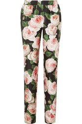Dolce And Gabbana Floral Print Silk Charmeuse Tapered Pants Pink