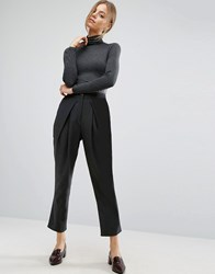 Asos Tailored Peg Trousers With Wrap Leg Black