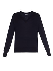 Tomas Maier V Neck Fine Knit Wool Sweater