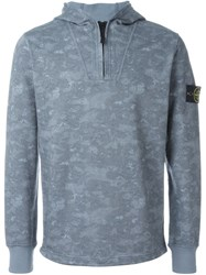 Stone Island Zip Hooded Sweater Grey