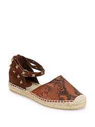 Ash Stud Accented Leather Espadrille Sandals Desert