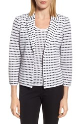Ming Wang Women's Jacquard Knit Blazer White Black