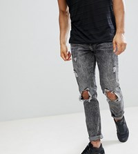 Brooklyn Supply Co. Co Acid Wash Slim Jeans With Rip And Repair Blue