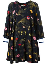 Fendi Off Shoulder Floral Dress Black