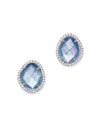 Meira T 14K White Gold Sapphire And Moonstone Doublet Stud Earrings With Diamonds