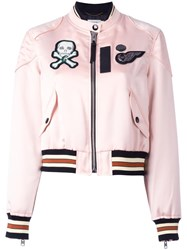 Coach Banded Collar Bomber Jacket Pink Purple