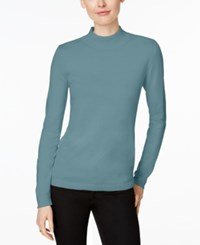 Charter Club Petite Mock Neck Sweater Only At Macy's Dusted Aqua