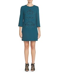 Cynthia Steffe Embroidered Shift Dress Agave
