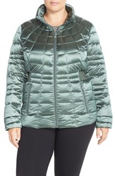 Bernardo Packable Reversible Down And Primaloft Fill Jacket Plus Size Forest Floral Abstract Print