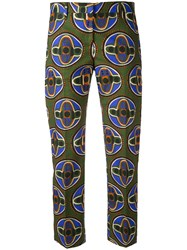 Aspesi Cropped Printed Trousers Women Cotton 44 Green