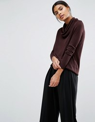 Vila Cowl Neck Jumper Choc Plum Brown
