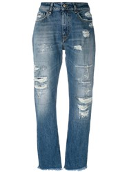 Cycle Distressed Straight Jeans Women Cotton 26 Blue