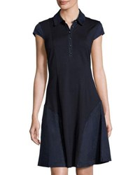 Nanette Nanette Lepore Knit Short Sleeve Dress With Faux Suede Trim Navy