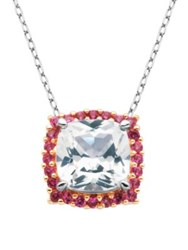 Lord And Taylor White Sapphire Pendant Necklace Pink