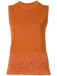 En Route Flocked Detail Knitted Vest Women Paper One Size Yellow Orange