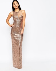 City Goddess Sequin Cocktail Maxi Dress With Mesh Insert Champagne