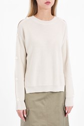 Helmut Lang Women S Buttoned Sleeve Jumper Boutique1 Ivory