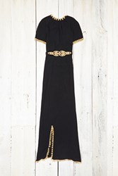 Free People Womens Vintage Black And Gold Dress
