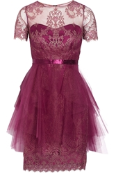 Notte By Marchesa Lace Appliqua D Tulle Mini Dress