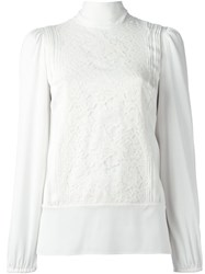 Dolce And Gabbana Floral Lace Panel Blouse White