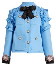 Gucci Ruffle Trimmed Cotton Blend Cady Jacket 4361 Sky Blue