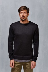 Vanishing Elephant Two Tone Textured Sweater Black