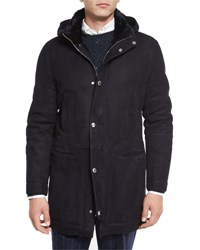 Brunello Cucinelli Suede Shearling Fur Lined Parka Navy