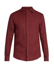 Giorgio Armani Single Cuff Linen Shirt Red