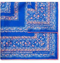 Turnbull And Asser Floral Print Silk Twill Pocket Square Royal Blue