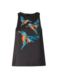 Giles Embroidered Kingfisher Satin Top