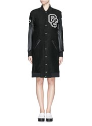 Opening Ceremony 'Oc' Leather Sleeve Varsity Long Jacket Black