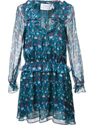 Tanya Taylor Floral Print Ruffled Dress Green