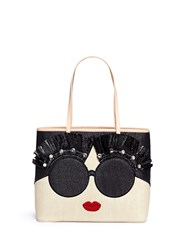 Alice Olivia 'Stace Face' Embellished Straw Tote Multi Colour