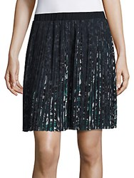 Max Studio Pleated Floral Printed Skirt Black Multi