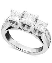 Macy's Three Stone Diamond Ring In 14K White Gold 3 Ct. T.W.