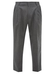 Wooyoungmi Pleated Wool Blend Trousers Grey Multi