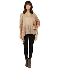 Brigitte Bailey Ginger Crocheted Poncho With Fringe Tan Women's Coat