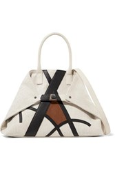 Akris Ai Small Suede And Textured Leather Trimmed Canvas Shoulder Bag Sand