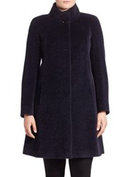 Cinzia Rocca Plus Size Wool And Alpaca Car Coat Navy