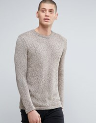 Minimum Crew Neck Two Tone Knit Jumper Beige