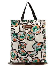 Marni Self Stowing Coated Poplin And Leather Tote White Multi