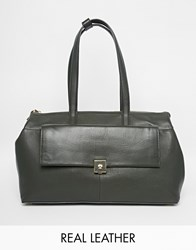Modalu Parker Leather East West Tote Bag Bayleafgreen