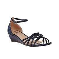 Paradox London Pink Avery Strappy Glitter Wedge Sandals Navy