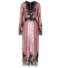 Costarellos Lace Trimmed Sequined Dress Pink