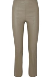 By Malene Birger Florentina Cropped Leather Bootcut Pants Gray Green