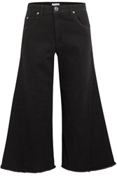 Sonia Rykiel Cropped High Rise Wide Leg Jeans Black