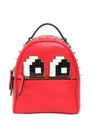 Les Petits Joueurs Micro Mic Eyes Leather Backpack