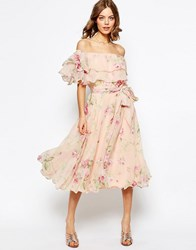 Asos Floral Bardot Off The Shoulder Midi Prom Dress With Multi Ruffle Multi